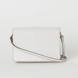 H&M Small Shoulder Bag Embossed Snake Light Beige
